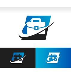 Briefcase swoosh logo icon vector