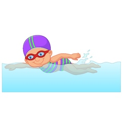 Cartoon little girl swimmer in the swimming pool vector