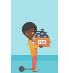 Chained business woman with bags full of taxes vector