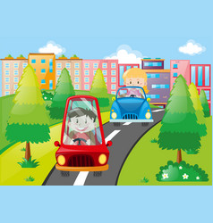 children driving on the road vector image