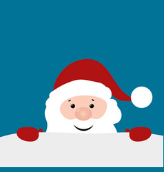 christmas card with santa claus on blue background vector image