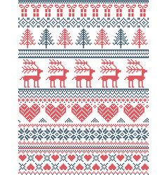 Christmas pattern nordic style vector