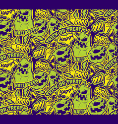 color halloween seamless pattern vector image