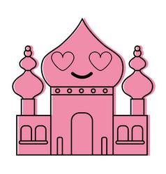 Color taj mahal in love kawaii cartoon vector