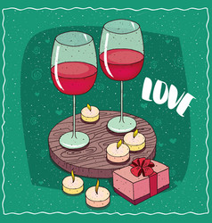 composition with red wine and pink gift box vector image