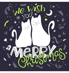 couple hand drawn cats with vector image