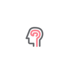 Creative orange human brain head logo symbol vector