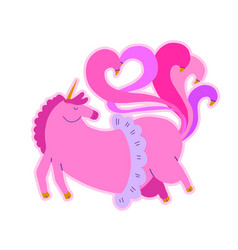cute fat flying unicorn cartoon baanimal pink vector image