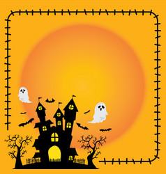 cute halloween sticker element silhouette castle vector image