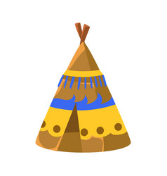 Decorated wigwam hut native american indian vector