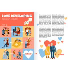 Developing love relations infographics vector