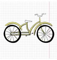 Doodle yellow bicycle excellent vector image