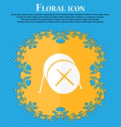Drum icon Floral flat design on a blue abstract vector