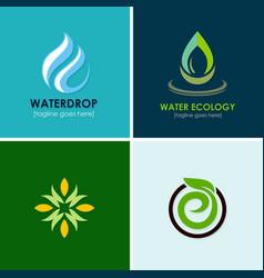 eco water drop logos vector image