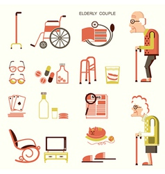 Elderly people and objects for life vector