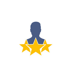 Employee review icon on white vector
