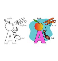 English alphabet coloring book vector