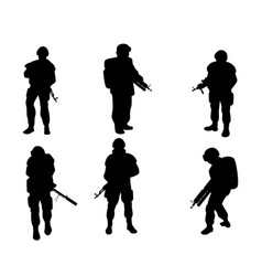 Equipped military with weapons vector