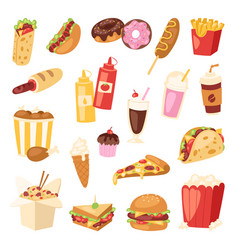 fast food unhealthy cartoon burger sandwich vector image