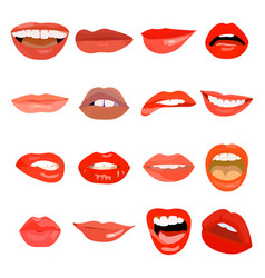 female lips set on sweet passion lip design vector image
