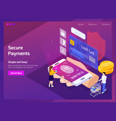 Financial technology isometric web page vector