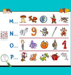 First letter a word activity game vector