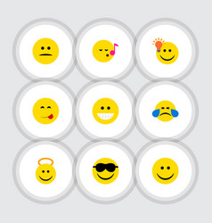 flat icon face set of have an good opinion happy vector image