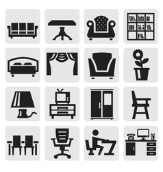 furniture and home icons vector image