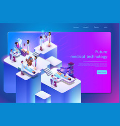 Future medical technology web page template vector