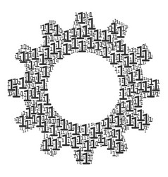 gearwheel collage of one digit icons vector image