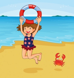 Girl at beach vector