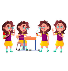 Girl schoolgirl kid poses set high school vector