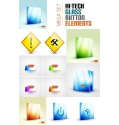 Glossy modern button surface design set vector image
