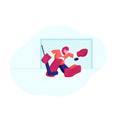 goalkeeper in sports equipment catch puck at vector image