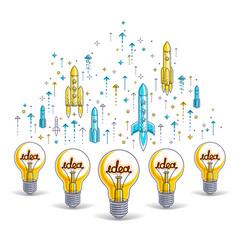 group shining light bulbs and set launching vector image