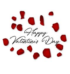 Happy valentines day card with petals vector