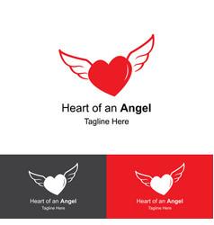 Heart of an angel logo design template vector