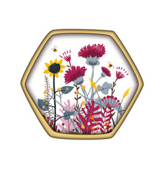 Hexagon shape label with cute honey meadow flowers vector