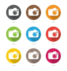 Hipster photo or camera icon set with shadow vector image