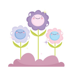 kawaii gardening cartoon happy flowers characters vector image