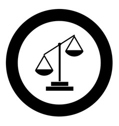 law scale icon black color in circle vector image
