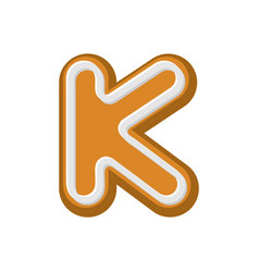 letter k gingerbread peppermint honey-cake font vector image