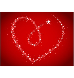 Love bright stars in heart shape vector