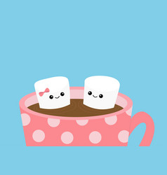 Marshmallows with eyes and smiles taking bath mug vector