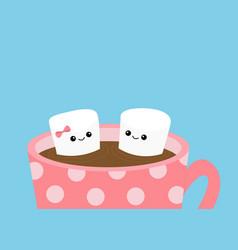 marshmallows with eyes and smiles taking bath mug vector image
