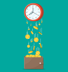 money wallet gold coins falling from clocks vector image
