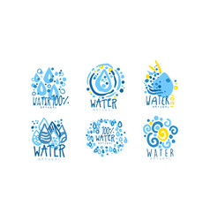 Natural water label or badge design set vector