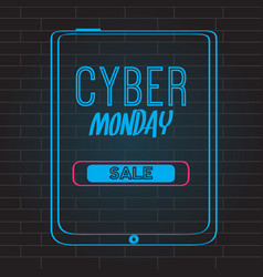 neon cyber monday promotion vector image