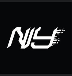 Ny logo monogram abstract speed technology design vector