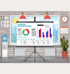 office building interior projector screen vector image
